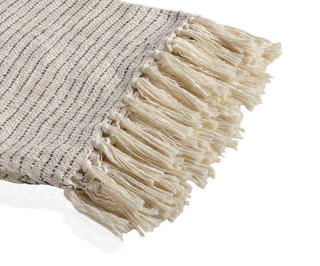 Manta plaid de sofá gris de algodón Andrea House con degradado