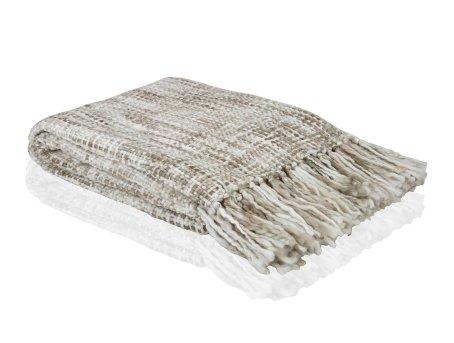 Manta de sofá con punto grueso beige con flecos