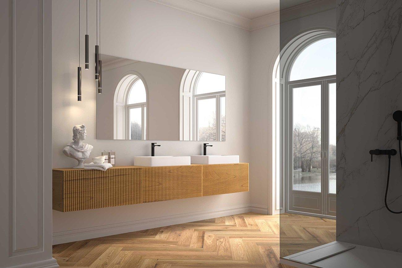 Mueble para baño C4 Steche con acabado miel, alistonado. Ambiente 3 cajones