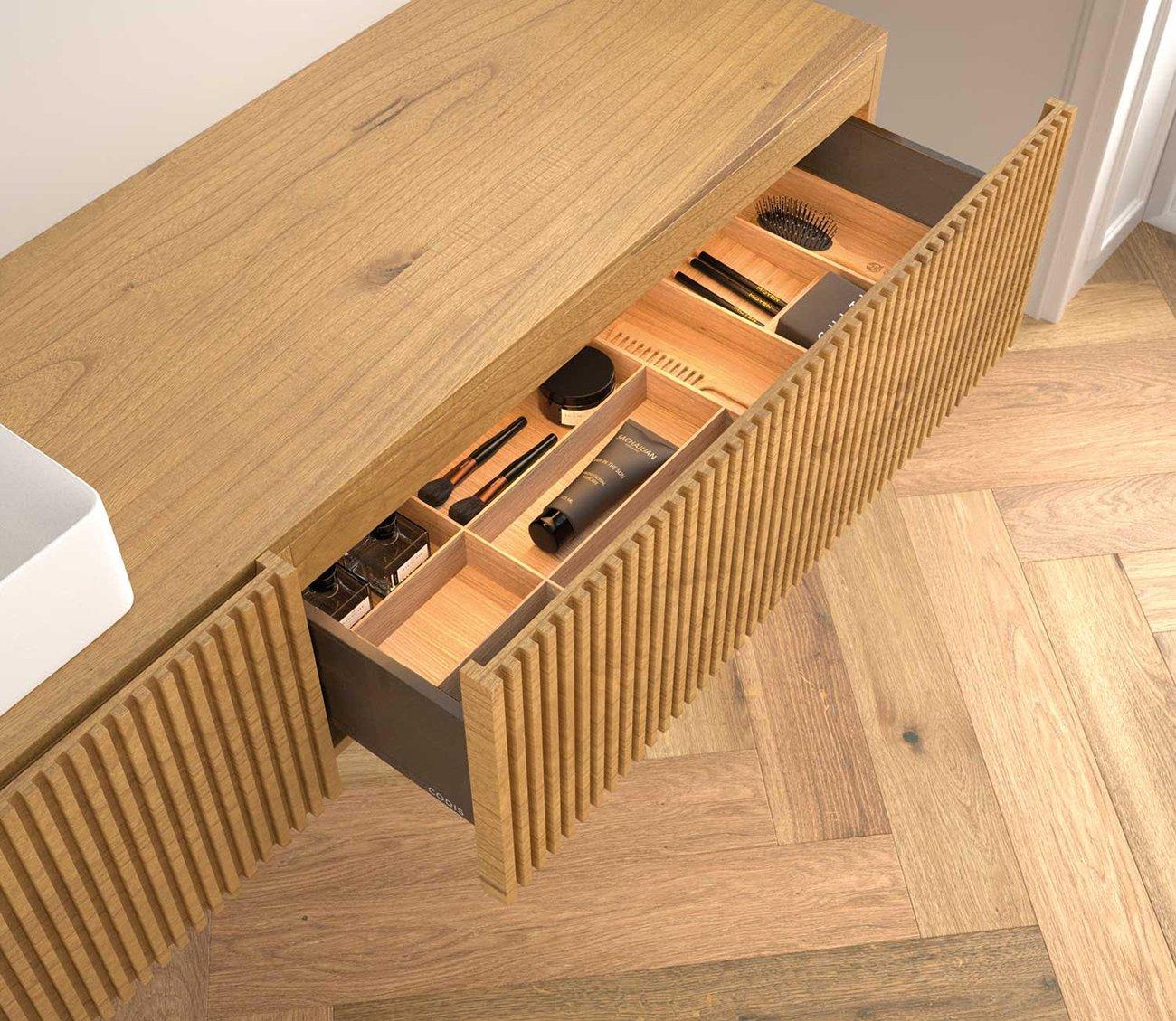 Mueble para baño C4 Steche con acabado miel, alistonado. Detalle cajones