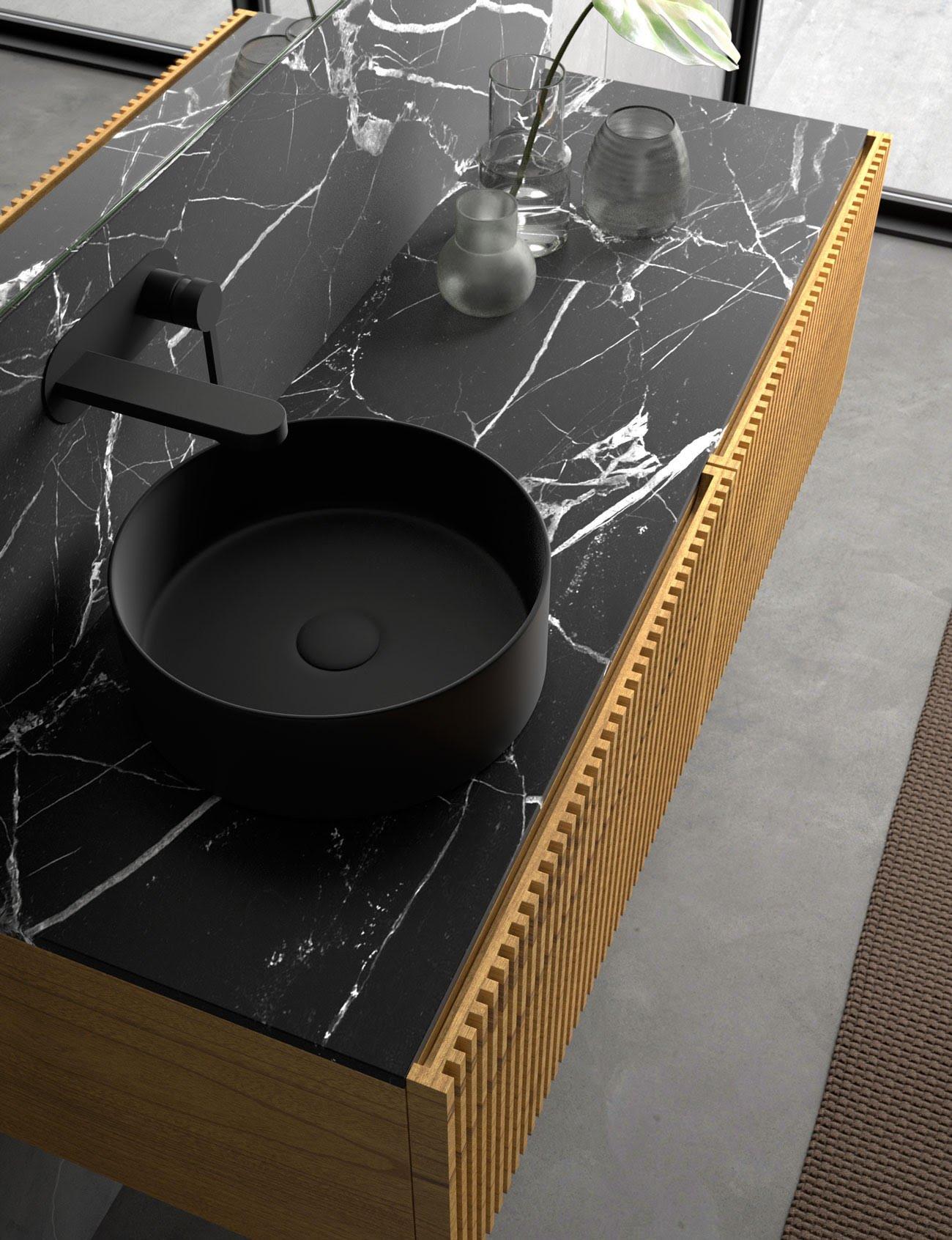 Mueble para baño C4 Steche con acabado miel, alistonado. Detalle encimera