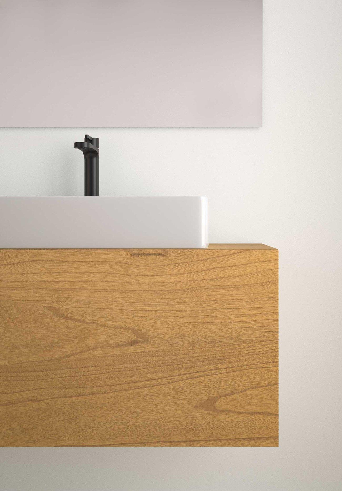 Lavabo con orificio, Fino K42. Ambiente Mueble para baño con tapa, C4 Steche. Liso