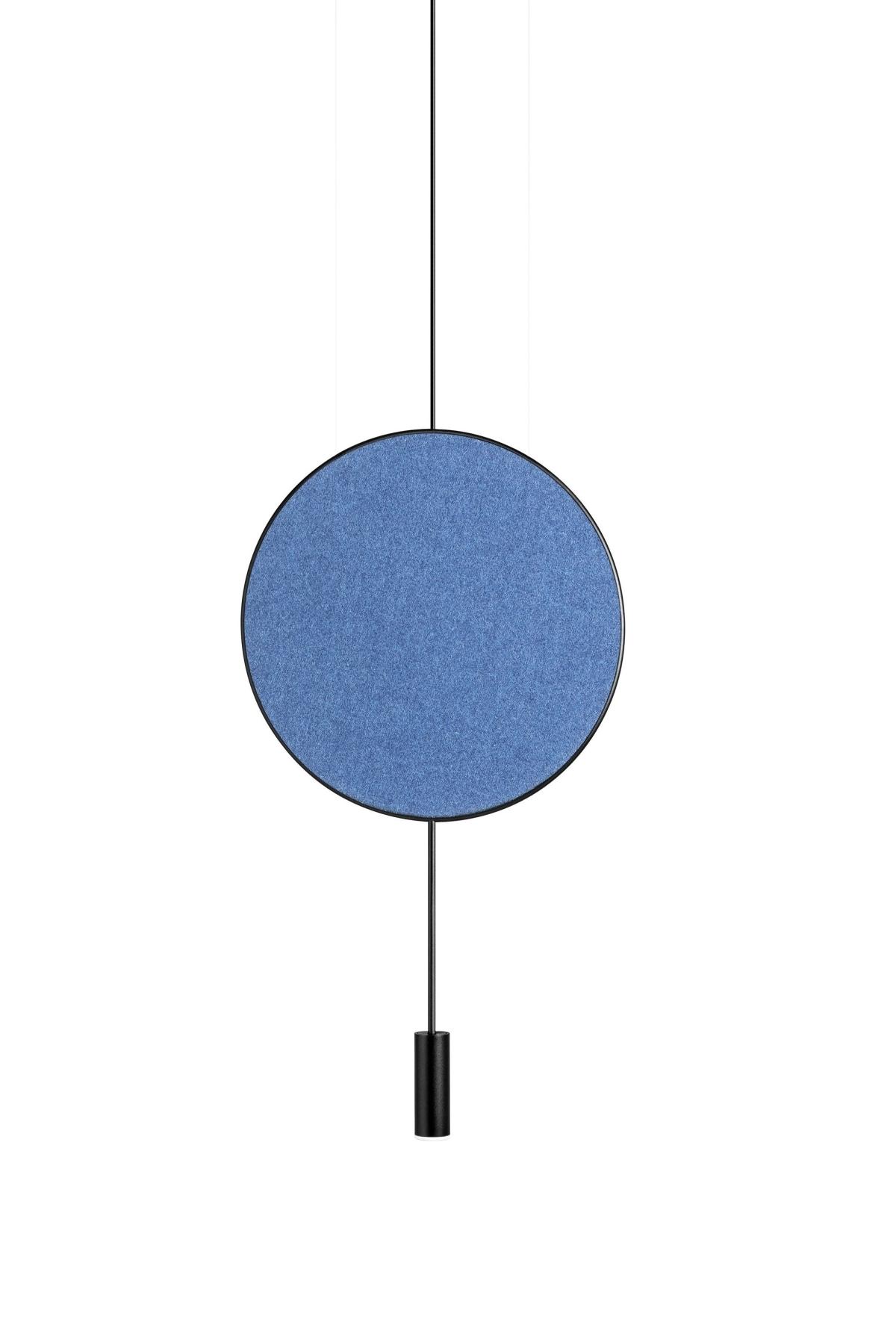 Foto de Lámpara de techo una luz con panel acústico Revolta en Azul. Estiluz